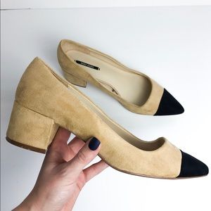 Zara Black Toe & Tan Suede Block Heel